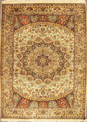The Rugs Cafe Carpets 4x6 / White Gol-Gumbad Hand Knotted Silk Area Rug