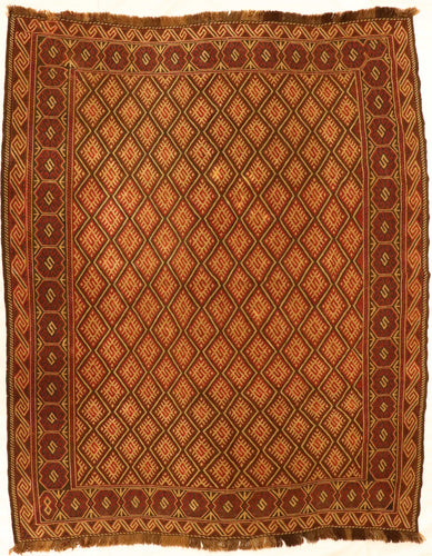 The Rugs Cafe Carpets 5.8x6.9 Diamond-Cut Kilim Vintage Rug
