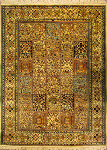 The Rugs Cafe Carpets 5x7 Mughal Garden Design Silk Carpet
