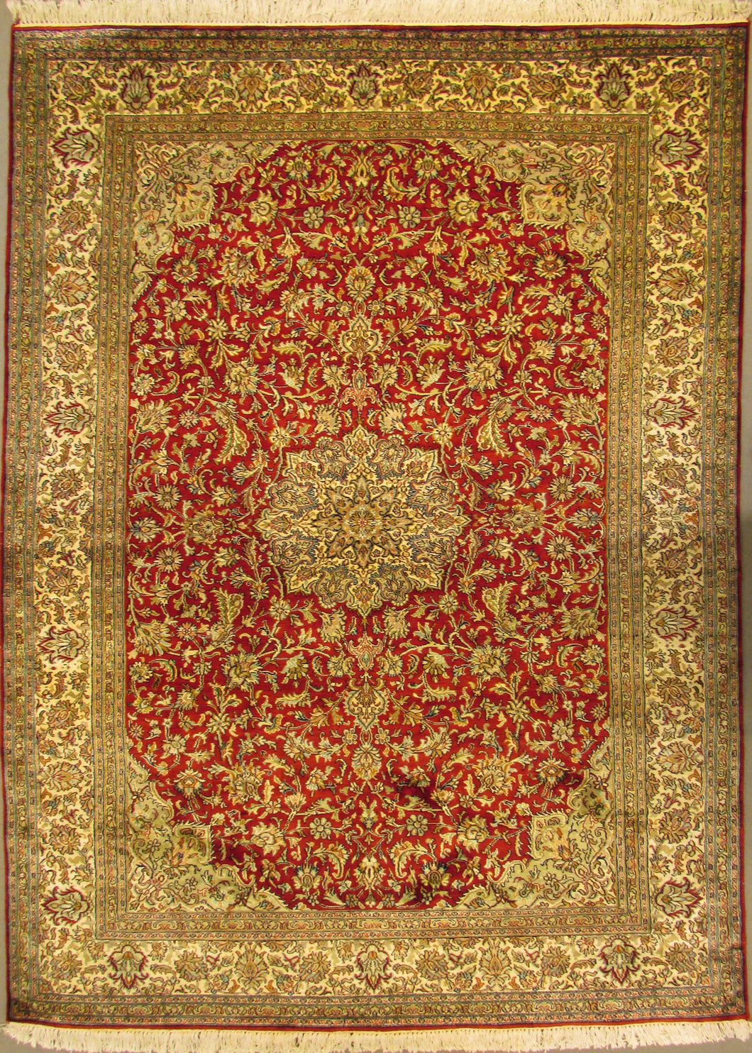 The Rugs Cafe Carpets 5x7 / Red Charbagh (Four Gardens) Hand Knotted Silk Area Rug- Red 01