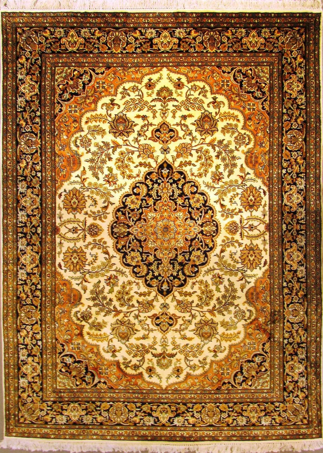 The Rugs Cafe Carpets 5x7 / White Charbagh (Four Gardens) Design Silk Carpet - White