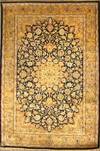 The Rugs Cafe Carpets 6x9 / Black Charbagh (Four Gardens) Hand Knotted Silk Area Rug- Black 01