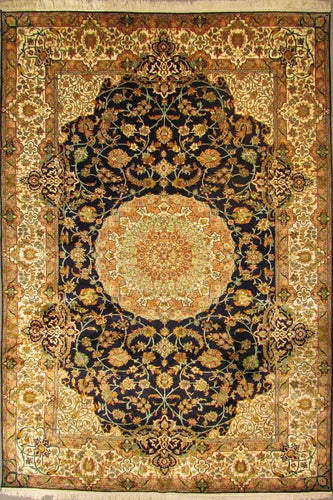 The Rugs Cafe Carpets 6x9 / Black Charbagh (Four Gardens) Hand Knotted Silk Area Rug (Premium): Black