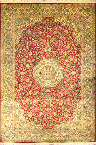 The Rugs Cafe Carpets 6x9 / Red Charbagh (Four Gardens) Hand Knotted Silk Area Rug- Red 02