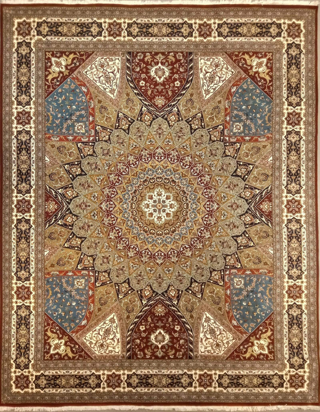 The Rugs Cafe Carpets 8 x 10 / Red Gol Gumbad Design Carpet (Inspired by Taj Mahal's Dome) Red