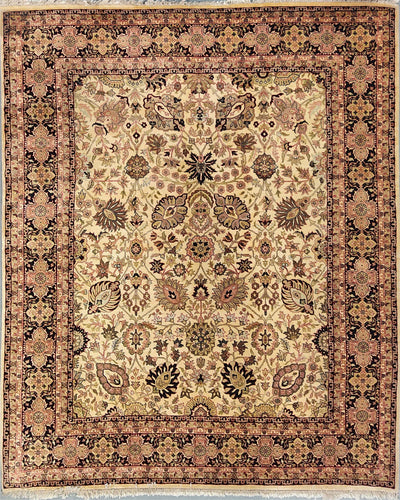 The Rugs Cafe Carpets 8x10 / Cream All Over Design Carpet [Premium Quality]: Symmetric Hand-Knotted Area Rug White 8 x 10
