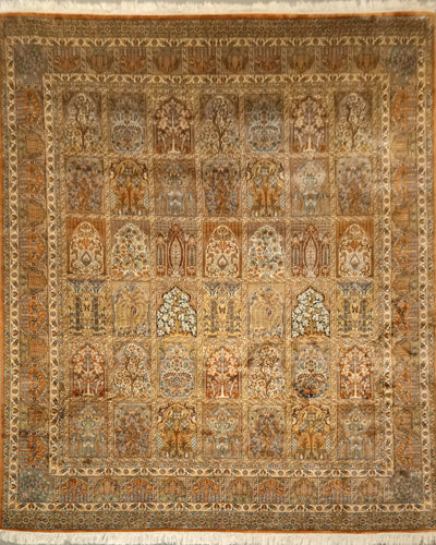 The Rugs Cafe Carpets 8x10 Mughal Garden Design: Silk Rug