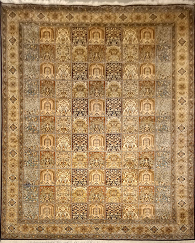 The Rugs Cafe Carpets 8x10 Mughal Garden Design: Silk Rug (Black)
