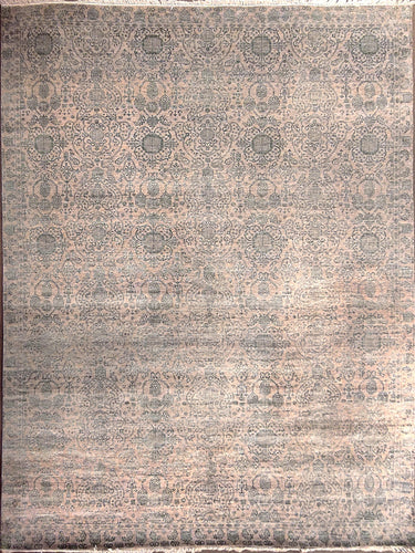 The Rugs Cafe Carpets 9x12 Blue Modern Rug with Silk Touch 9 x 12- Modern Rug for Living Room, Bedroom, Dining Room, and Office