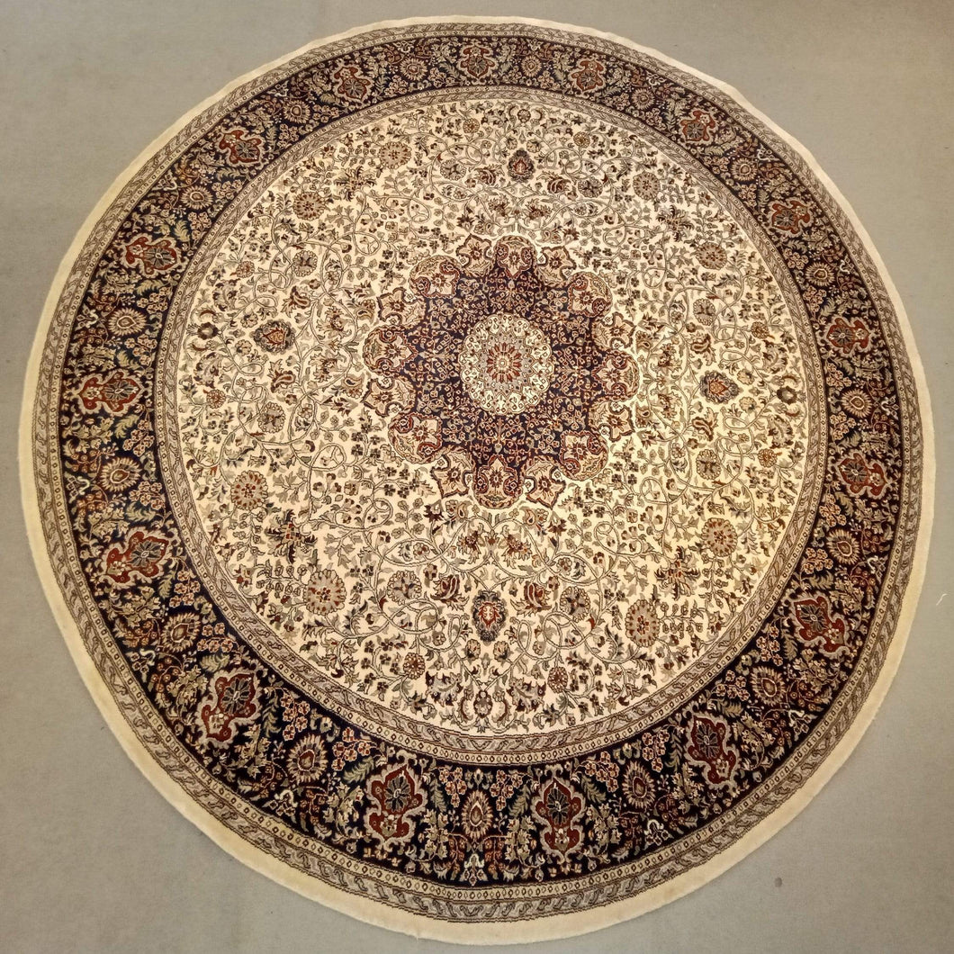 The Rugs Cafe Carpets 9x9 / Cream Round rug with Medallion