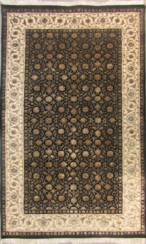 The Rugs Cafe Carpets Black / 3x5 Herati Design Carpet(Black)
