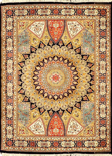 The Rugs Cafe Carpets Blue / 5 x 7 Gol Gumbad Design Carpet (Inspired by Taj Mahal's Dome) Dark Blue