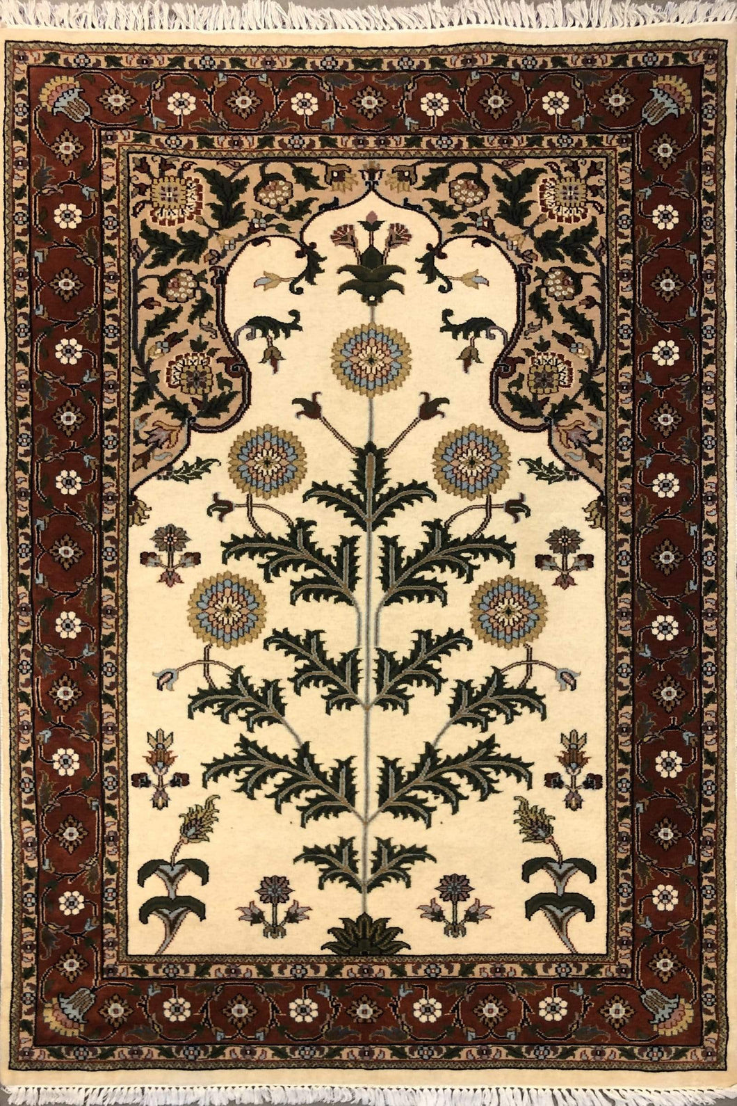 The Rugs Cafe Carpets Cream / 4x6 Tree of Life Hand Knotted Rug Cream  4 x 6