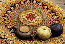 Load image into Gallery viewer, The Rugs Cafe Carpets Gol Gumbad Design Carpet (Inspired by Taj Mahal's Dome) Dark Blue