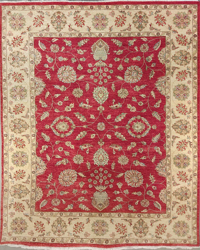 The Rugs Cafe Carpets Red / 8x10 Chobi Hightwist Rug Red 8 x 10