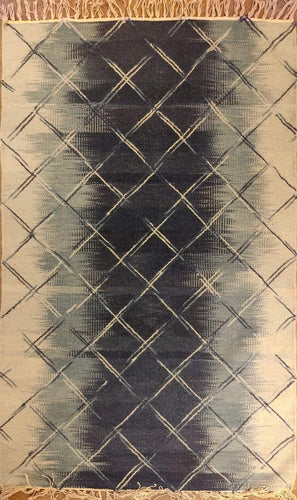The Rugs Cafe Dhurries 2.5x4 / Mutli Blurred Lines Minimalist Design Faded with Transitional White (Crisscross Patterned)