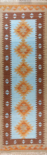 The Rugs Cafe Dhurries 2.5x8.2 / Multi Hand Made Wool Persian Geometric Cum Tribal Runner Dhurrie Rug [Handmade]