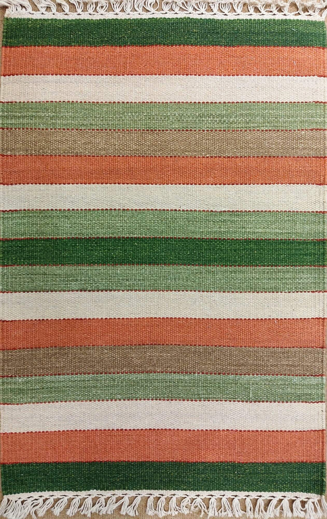 The Rugs Cafe Dhurries 2x3 / Multi Contemporary Linear Stripes Design Quality Rug - Multi Colored Handwoven Rug