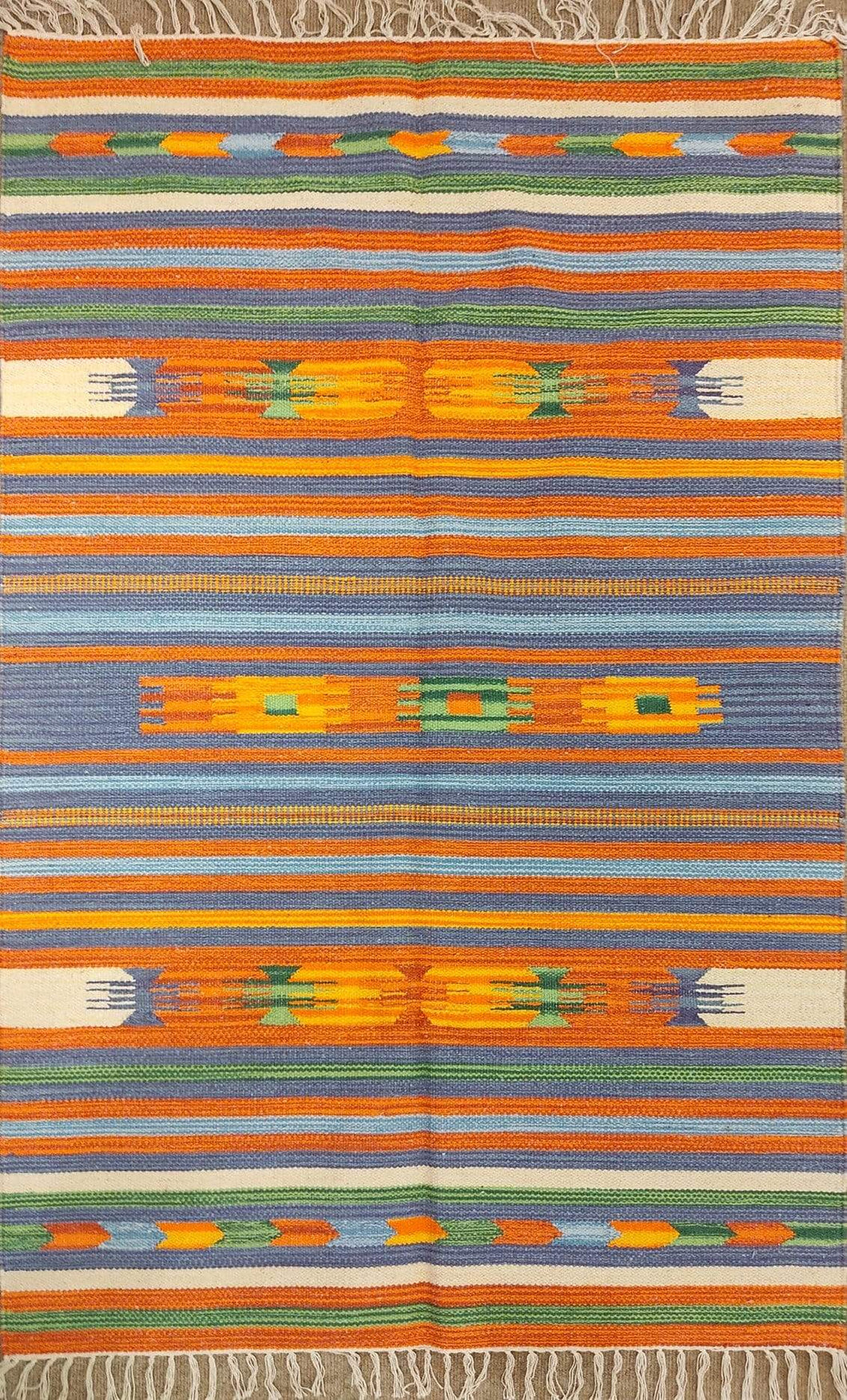 The Rugs Cafe Dhurries 3.4x4.10 / Multi Colorful Stripe Indoor Outdoor Linear cum Abstract Rug [Handmade]