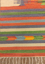 Load image into Gallery viewer, The Rugs Cafe Dhurries 3.4x4.10 / Multi Colorful Stripe Indoor Outdoor Linear cum Abstract Rug [Handmade]