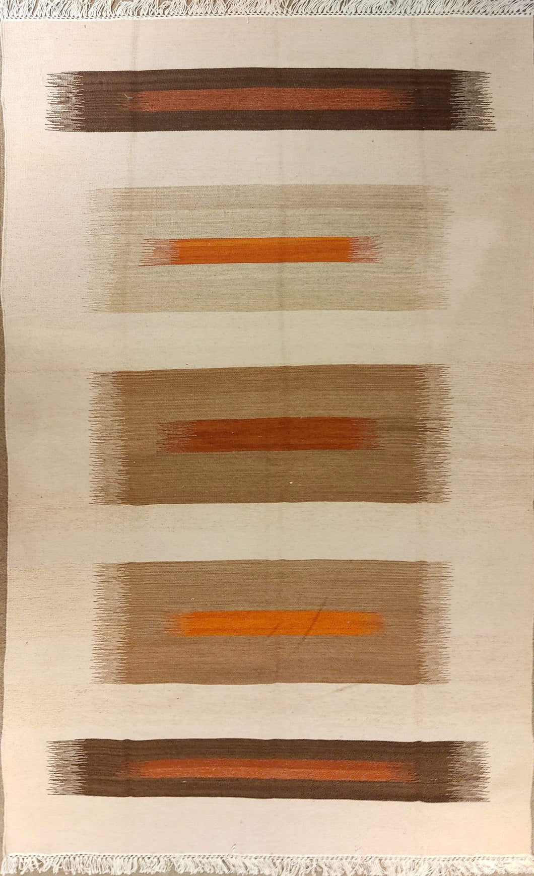 The Rugs Cafe Dhurries 3.4x6 / Multi Multiple Colored Column Abstract cum Linear Dhurrie Rug