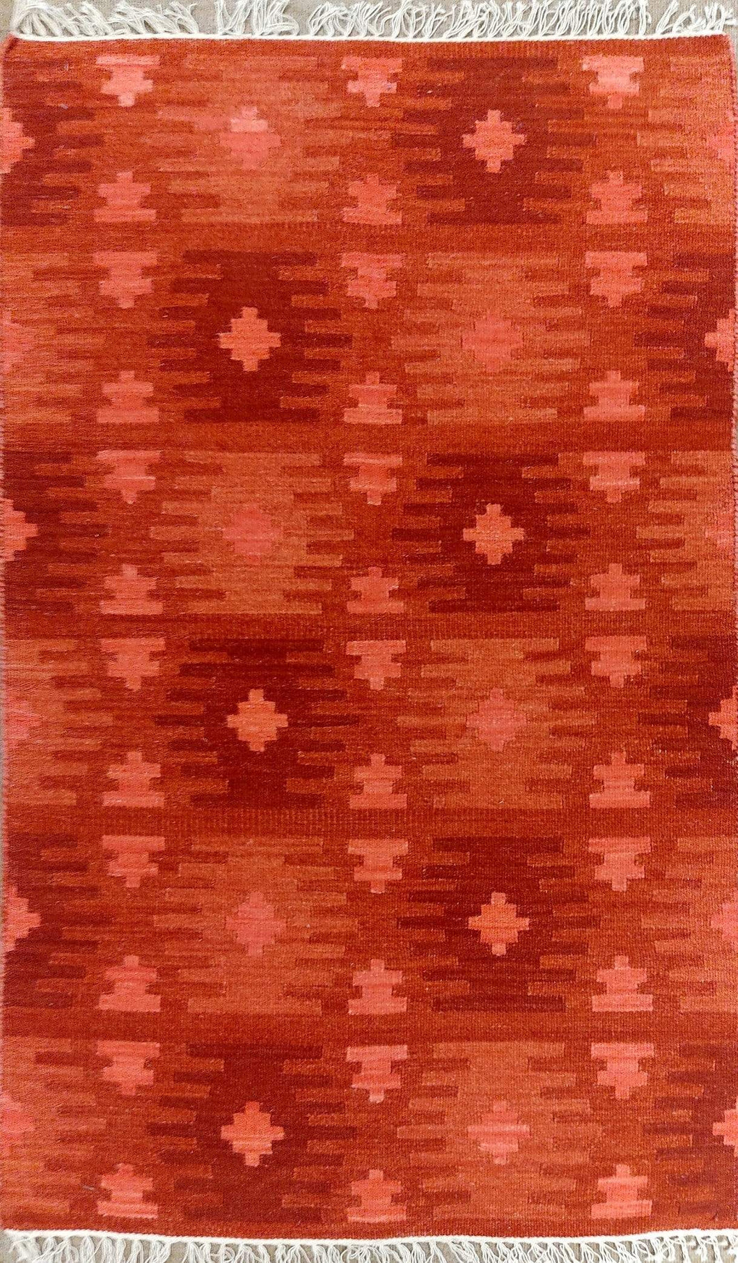 The Rugs Cafe Dhurries 3 x 5 / Red Hand Made Wool Persian Tribal Rug with Geometric Pattern [Handmade]