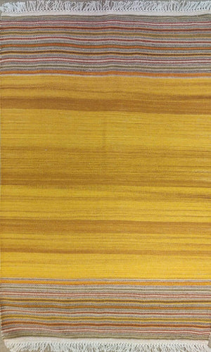 The Rugs Cafe Dhurries 3x5 / Multi Yellow Colored Rug with Colorful Stripes Dhurrie Rug [Handmade]