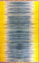 Load image into Gallery viewer, The Rugs Cafe Dhurries 3x5 / Yellow & Blue Blurred Lines Minimalist Design Faded with Transitional White Flat Weave Rug (Handmade)