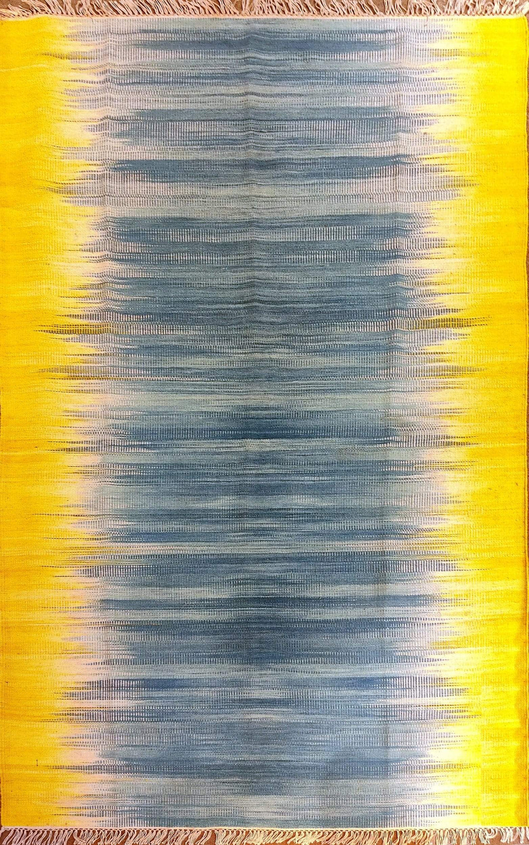 The Rugs Cafe Dhurries 3x5 / Yellow & Blue Blurred Lines Minimalist Design Faded with Transitional White Flat Weave Rug (Handmade)