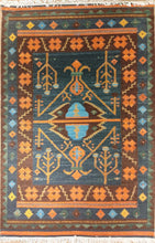 Load image into Gallery viewer, The Rugs Cafe Dhurries 4.2x5.10 / Multi Hand Made Wool Persian Geometric Cum Tribal Rug [Handmade]