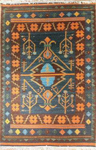 The Rugs Cafe Dhurries 4.2x5.10 / Multi Hand Made Wool Persian Geometric Cum Tribal Rug [Handmade]