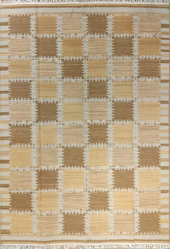 The Rugs Cafe Dhurries 4.2x6.3 / Multi Regular Patterned Patchwork Handwoven Dhurrie Rug