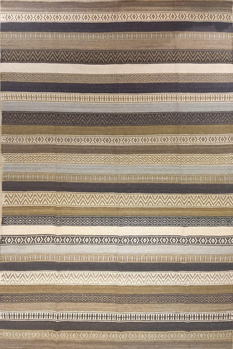 The Rugs Cafe Dhurries 4.4x7.6 / Multi Contemporary Linear Stripes Design Quality Dhurrie Rug - Handwoven Rug