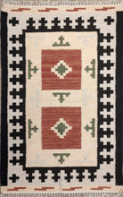 Load image into Gallery viewer, The Rugs Cafe Dhurries 4.5x6.7 / Multi Hand Made Wool Persian Geometric Cum Tribal Rug [Handmade]