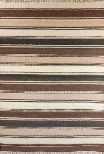 The Rugs Cafe Dhurries 4.6x6.5 / Multi Contemporary Linear Stripes Design Quality Rug - Multi Colored Handwoven Rug