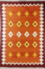 Load image into Gallery viewer, The Rugs Cafe Dhurries 4.6x7 / Multi Hand Made Wool Persian Tribal Rug with Geometric Pattern [Handmade]