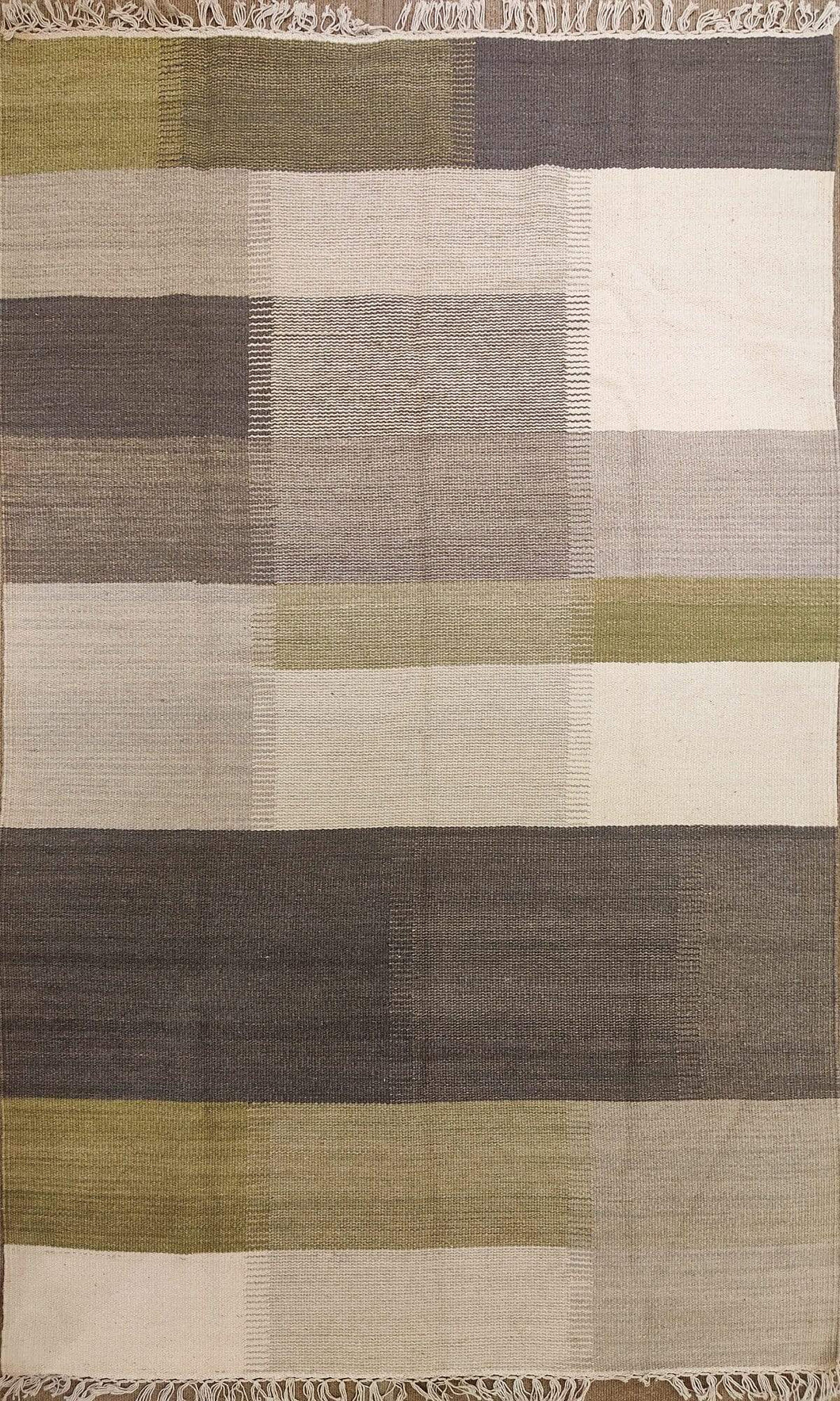 The Rugs Cafe Dhurries 4 x 6 / Multi Multiple Colored Column Striped Linear Rug - Modern and Contemporary Rug