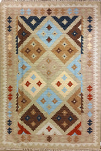 Load image into Gallery viewer, The Rugs Cafe Dhurries 5.3 x 7.6 / Multi Hand Made Wool Persian Geometric Cum Tribal Rug [Handmade]
