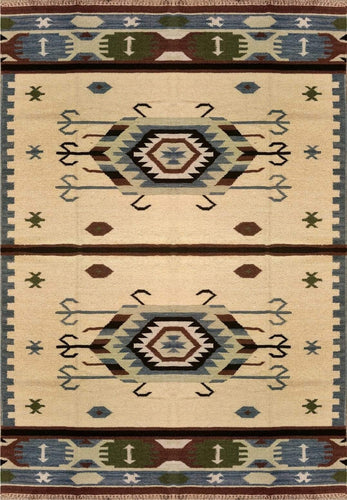 The Rugs Cafe Dhurries 5.4x7.6 / Multi Hand Made Wool Persian Tribal Rug with Geometric Pattern [Handmade]