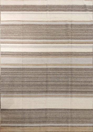 The Rugs Cafe Dhurries 5.5x7.7 / Multi Contemporary Linear Design Quality Dhurrie Rug [Handmade]
