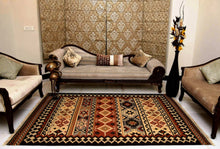 Load image into Gallery viewer, The Rugs Cafe Dhurries 5.6 x 7.9 / Multi Hand Made Wool Persian Geometric Cum Tribal Rug [Handmade]