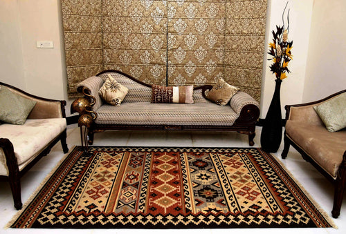The Rugs Cafe Dhurries 5.6 x 7.9 / Multi Hand Made Wool Persian Geometric Cum Tribal Rug [Handmade]
