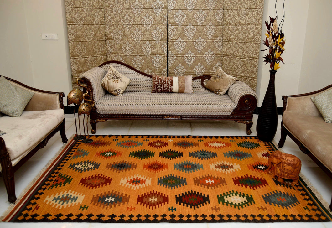 The Rugs Cafe Dhurries 5.6 x 7.9 / Multi Hand Made Wool Persian Tribal Rug with Geometric Pattern [Handmade]