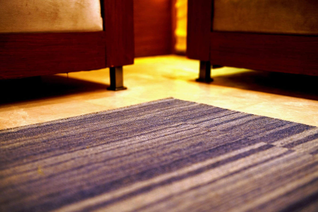 The Rugs Cafe Dhurries 5x7.6 / Violet Blue Colored Handwoven Linear Striped Rug [Handmade]