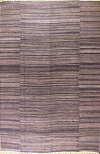 Load image into Gallery viewer, The Rugs Cafe Dhurries 5x7.6 / Violet Violet Colored Handwoven Linear Striped Rug [Handmade]
