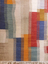 Load image into Gallery viewer, The Rugs Cafe Dhurries 6.1x9.8 / Multi Handwoven Multi Colored Abstract Cum Patchwork Dhurrie Rug - Designed Pattern Handmade Rug
