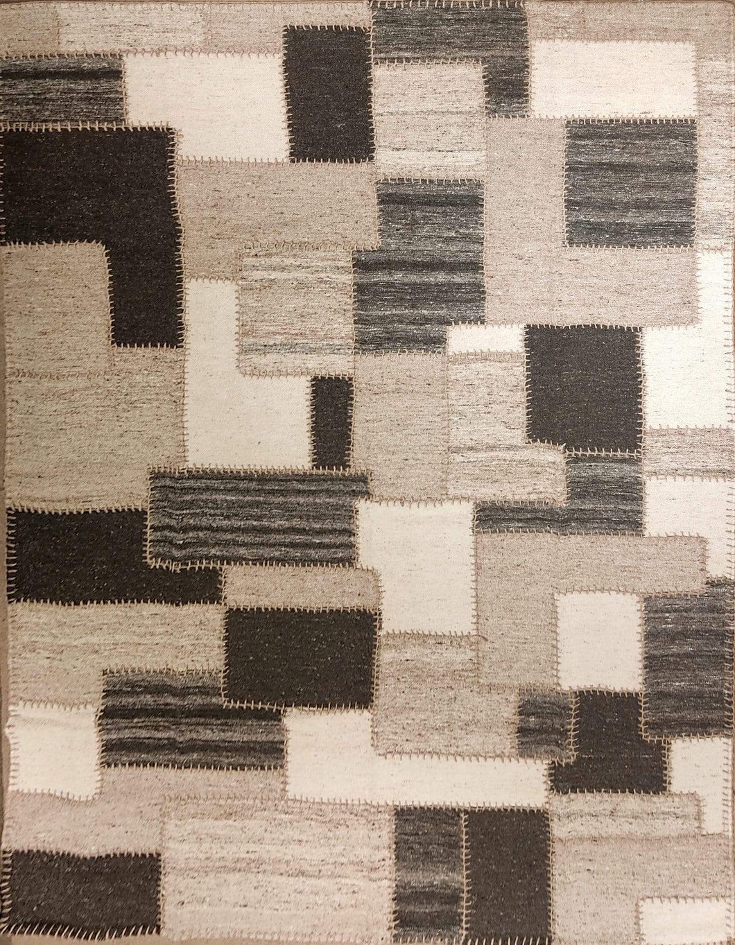 The Rugs Cafe Dhurries 6.3x8.10 / Multi Irregular Patterned Patchwork Handwoven Dhurrie Rug