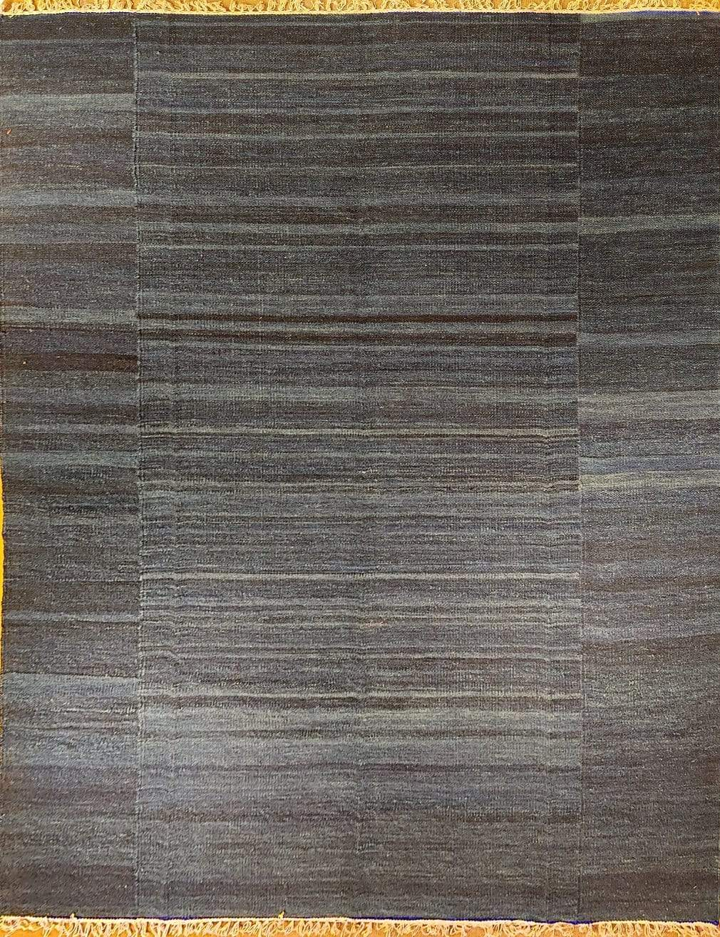The Rugs Cafe Dhurries 7.6x9.6 / Blue Blue Colored Handwoven Linear cum Striped Rug [Handwoven]