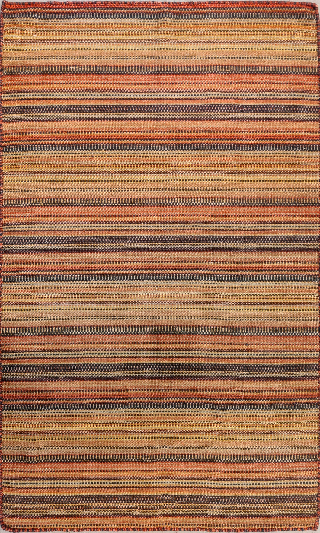 The Rugs Cafe Dhurries Colorful Stripe Hooked Indoor Outdoor Rug [Handmade]