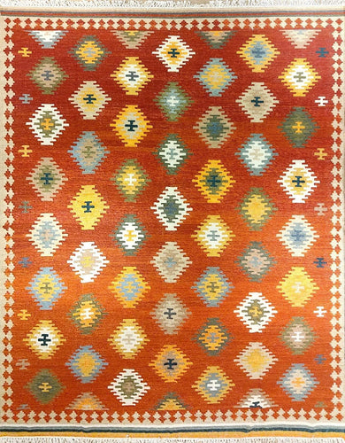 The Rugs Cafe Dhurries Hand Made Wool Persian Tribal Rug with Geometric Pattern [Handmade]